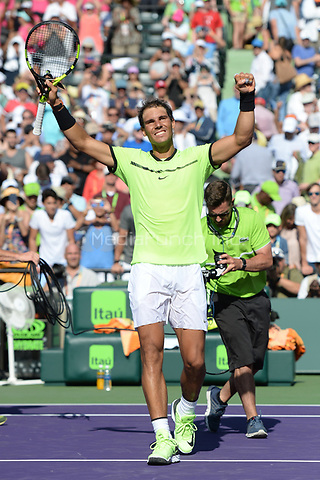 KEY BISCAYNE, FL - MARCH 28 : Rafael Nadal Vs Nicolas Mahut during the Miami Open at Crandon Park Tennis Center on March 28, 2017 in Key Biscayne, Florida. Credit: mpi04/MediaPunch