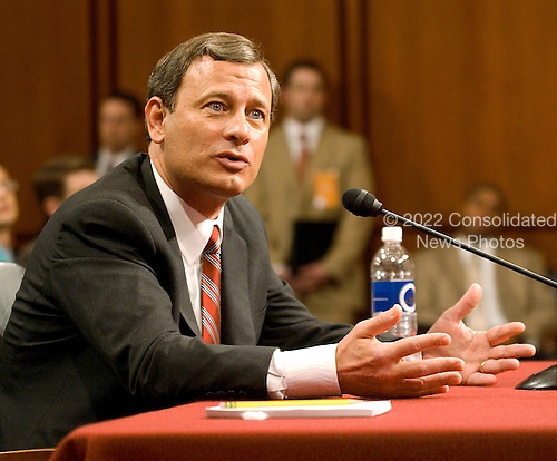 Washington, D.C. - September 13, 2005 -- Judge John G. Roberts, Jr. testifies before the United States Senate Committee on the Judiciary during its hearing on his nomination to be Chief Justice of the United States..Credit: Ron Sachs / CNP