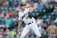 Winston-Salem Dash starting pitcher Alec Hansen (13) in action against the Potomac Nationals at BB&T Ballpark on August 5, 2017 in Winston-Salem, North Carolina.  The Dash defeated the Nationals 6-0.  (Brian Westerholt/Four Seam Images)