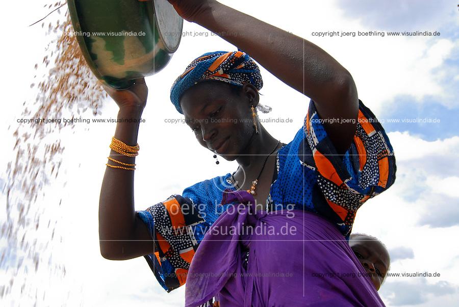 MALI Bougouni, woman winnowing rice in village Banankoro / MALI Bougouni, Frauen dreschen Reis und trennen die Spreu vom Reiskorn im Dorf Banankoro