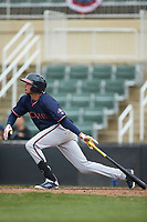 Jose Bermudez (7) of the Rome Braves follows through on his swing against the Kannapolis Intimidators at Kannapolis Intimidators Stadium on April 7, 2019 in Kannapolis, North Carolina. The Intimidators defeated the Braves 2-1. (Brian Westerholt/Four Seam Images)