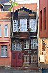 Anchiemt Ottoman timber house, Street scene, Fener District, Istanbul, Turkey,
