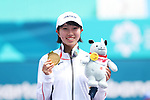 Noa Takahashi (JPN), <br /> AUGUST 29, 2018 - Soft Tennis : <br /> Women's Singles Medal ceremony <br /> at Jakabaring Sport Center Tennis Courts <br /> during the 2018 Jakarta Palembang Asian Games <br /> in Palembang, Indonesia. <br /> (Photo by Yohei Osada/AFLO SPORT)