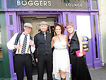 Bride Anne McCormack, Groom Alan Ruddy, best man Colin Walsh and bridesmaid Julie Kerr who took part in the mock wedding at Bogger's lounge in aid of the Order of Malta. Photo: Colin Bell/pressphotos.ie
