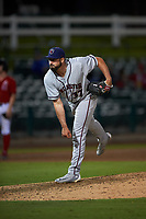 Lancaster JetHawks relief pitcher Reid Humphreys (37) follows through on his delivery during a California League game against the Inland Empire 66ers at San Manuel Stadium on May 18, 2018 in San Bernardino, California. Lancaster defeated Inland Empire 5-3. (Zachary Lucy/Four Seam Images)
