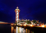 Dobbins Landing And The Bicentenial Tower At Night During The Perry 200 Commemoration, September 2013, Erie Pennsylvania, USA