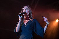 Keren Woodward of Bananarama performs at AmpRocks during Ampfest at Ampthill Great Park, Ampthill, England on 29 June 2018. Photo by David Horn.