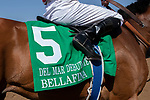 DEL MAR, CA  SEPTEMBER 1#5 Bellafina, ridden by Flavien Prat, after winning the Del Mar Debutante (Grade 1) on September 1, 2018, at Del Mar Thoroughbred Club in Del Mar, CA.(Photo by Casey Phillips/Eclipse Sportswire/Getty ImagesGetty Images