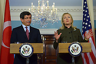 February 13, 2012 (Washington, DC)  U.S. Secretary of State Hillary Rodham Clinton and Turkish Foreign Minister Ahmet Davutoglu hold a joint press conference in the Treaty Room of the State Department in Washington  (Photo: Don Baxter/Media Images International)