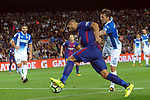 League Santander 2017/2018. Game: 03.<br /> FC Barcelona vs RCD Espanyol: 5-0.<br /> Luis Suarez vs Victor Sanchez.