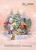 Interlitho, Dani, CHRISTMAS SANTA, SNOWMAN, nostalgic, paintings, 2 kids, sleigh, dog(KL5594,#X#) Weihnachten, nostalgisch, Navidad, nostálgico, illustrations, pinturas