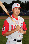 Lowell Spinners shortstop James Kang poses for a photo before a game vs. the Batavia Muckdogs at Dwyer Stadium in Batavia, New York July 16, 2010.   Batavia defeated Lowell 5-4 with a walk off RBI single.  Photo By Mike Janes/Four Seam Images