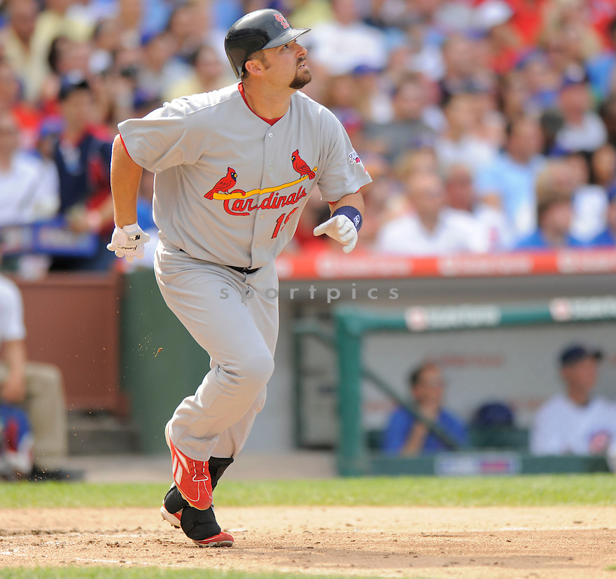 NICK STAVINOHA,of the St. Louis Cardinals in action  during the Cardinals game against the  Chicago Cubs, The  Cubs beat the Cardinals 7-3 in Chicago, Illinois on July 12, 2009...David Durochik