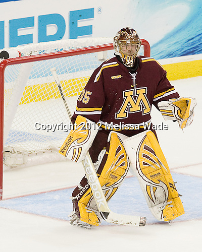 Kent Patterson (Minnesota - 35) - The Boston College Eagles defeated the University of Minnesota Golden Gophers 6-1 in their 2012 Frozen Four semi-final on Thursday, April 5, 2012, at the Tampa Bay Times Forum in Tampa, Florida.
