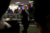 United States President Donald J. Trump greets employees at the National Response Coordination Center at the Federal Emergency Management Agency Headquarters on June 6, 2018 in Washington, DC.<br /> <br /> CAP/MPI/RS<br /> &copy;RS/MPI/Capital Pictures