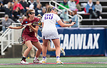 STONY BROOK, NY - MAY 27: Sam Apuzzo #2 of the Boston College Eagles and Haley Warden #25 of the James Madison Dukes before a face off during the Division I Women's Lacrosse Championship held at Kenneth P. LaValle Stadium on May 27, 2018 in Stony Brook, New York. (Photo by Ben Solomon/NCAA Photos via Getty Images)