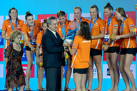 NETHERLANDS Champions of Europe Gold Medal <br /> NED - GRE Netherlands (white caps) vs. Greece (blue caps) <br /> Barcelona 27/07/2018 Piscines Bernat Picornell <br /> Women Final 1st 2nd place <br /> 33rd LEN European Water Polo Championships - Barcelona 2018 <br /> Photo Andrea Staccioli/Deepbluemedia/Insidefoto