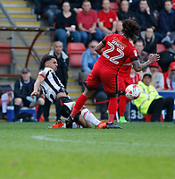 Grimsby Town's Brandon Comley makes the tackle during the Sky Bet League 2 match between Leyton Orient and Grimsby Town at the Matchroom Stadium, London, England on 11 March 2017. Photo by Carlton Myrie / PRiME Media Images.