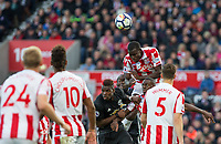 Kurt Zouma of Stoke City heads clear during the Premier League match between Stoke City and Manchester United at the Britannia Stadium, Stoke-on-Trent, England on 9 September 2017. Photo by Andy Rowland.