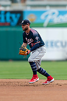 Reno Aces second baseman Wyatt Mathisen (21) during a game against the Fresno Grizzlies at Chukchansi Park on April 8, 2019 in Fresno, California. Fresno defeated Reno 7-6. (Zachary Lucy/Four Seam Images)
