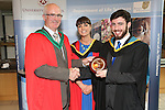 27/8/2015  Marc Cunningham, Neagh conferred with a BSc (Education) and recipient of the McGourty Trophy by Prof Sean Arkins and Dr Audrey O'Grady, Course Director, Science Education in Biological Science.<br /> Photograph Liam Burke/Press 22