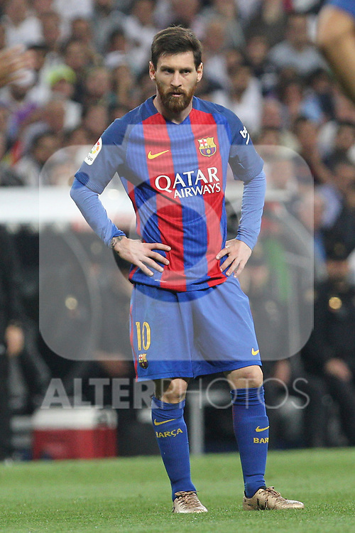 Leo Messi of FC Barcelona during the match of La Liga between Real Madrid and Futbol Club Barcelona at Santiago Bernabeu Stadium  in Madrid, Spain. April 23, 2017. (ALTERPHOTOS)