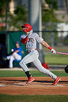 Clearwater Threshers Alec Bohm (40) hits a home run during a Florida State League game against the Dunedin Blue Jays on May 11, 2019 at Jack Russell Memorial Stadium in Clearwater, Florida.  Clearwater defeated Dunedin 9-3.  (Mike Janes/Four Seam Images)