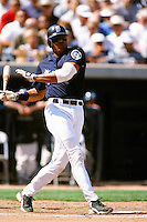 David Sequi of the Seattle Mariners during a Spring Training game  at the Peoria Sports Complex circa 1999 in Anaheim, California. (Larry Goren/Four Seam Images)