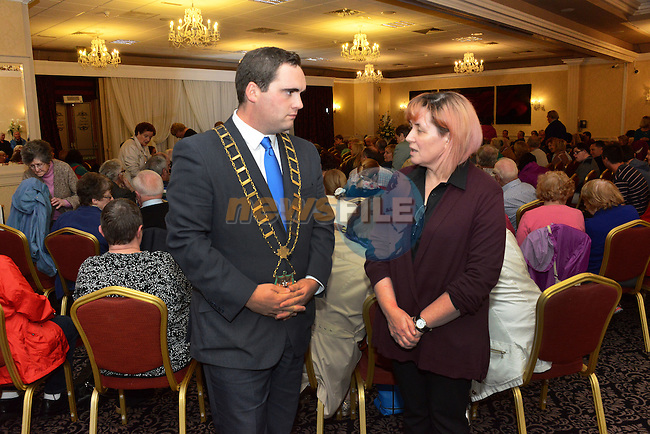 Mayor Kevin Callan and Rita Hanratty at the Save the Dominican Church public meeting in the Westcourt Hotel.
