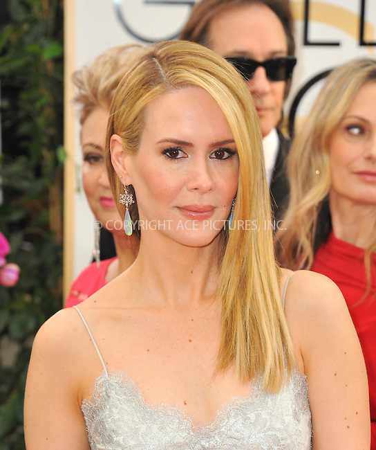 WWW.ACEPIXS.COM<br /> <br /> Janaury 12 2014, LA<br /> <br /> Actress Sarah Paulson arriving at the 71st Annual Golden Globe Awards held at The Beverly Hilton Hotel on January 12, 2014 in Beverly Hills, California.<br /> <br /> By Line: Peter West/ACE Pictures<br /> <br /> <br /> ACE Pictures, Inc.<br /> tel: 646 769 0430<br /> Email: info@acepixs.com<br /> www.acepixs.com