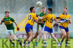 Diarmaid O'Connor Kerry in action against Sean Rouine  and Fergal Donnellan Clare in the Munster Minor Quarter Final at Austin Stack Park Tralee on Wednesday night.