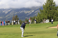 Joost Luiten (NED) chips onto the 17th green during Thursday's Round 1 of the 2017 Omega European Masters held at Golf Club Crans-Sur-Sierre, Crans Montana, Switzerland. 7th September 2017.<br /> Picture: Eoin Clarke | Golffile<br /> <br /> <br /> All photos usage must carry mandatory copyright credit (&copy; Golffile | Eoin Clarke)