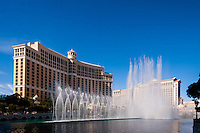 United States, Nevada, Las Vegas Strip. The Fountains of Bellagio is a choreographed performance with light and music.