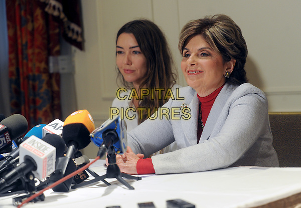 NEW YORK, NY - OCTOBER 24: New alleged victim of Harvey Weinstein, Mimi Haleyi and Attorney Gloria Allred speak during a press conference at The Lotte New York Palace on October 24, 2017 in New York City. <br /> CAP/MPI/DVT<br /> &copy;DVT/MPI/Capital Pictures