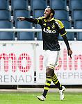 Solna 2015-07-26 Fotboll Allsvenskan AIK - IF Elfsborg :  <br /> AIK:s Henok Goitom jublar efter sitt 4-0 m&aring;l under matchen mellan AIK och IF Elfsborg <br /> (Foto: Kenta J&ouml;nsson) Nyckelord:  AIK Gnaget Friends Arena Allsvenskan Elfsborg IFE jubel gl&auml;dje lycka glad happy