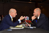 Los Angeles, CA - Thursday January 12, 2017: North Carolina Courage Head Coach Paul Riley, Aaran Lines prior to the 2017 NWSL College Draft at JW Marriott Hotel.
