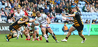 Leicester Tigers' Tom Youngs is tackled by Wasps' Joe Launchbury (left) and Nizaam Carr <br /> <br /> Photographer Stephen White/CameraSport<br /> <br /> Gallagher Premiership - Wasps v Leicester Tigers - Sunday 16th September 2018 - Ricoh Arena - Coventry<br /> <br /> World Copyright &copy; 2018 CameraSport. All rights reserved. 43 Linden Ave. Countesthorpe. Leicester. England. LE8 5PG - Tel: +44 (0) 116 277 4147 - admin@camerasport.com - www.camerasport.com