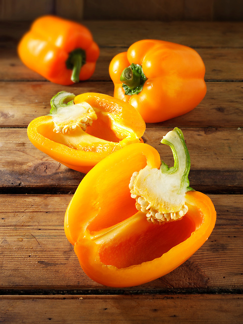 Orange  bell peppers photos, pictures & images