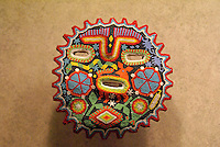 Huichol beadwork mask in the National Museum of Anthropolgy in Chapultepec Park, Mexico City