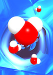 Colorful conceptual 3D Illustration of water molecules H2O over abstract blue background.