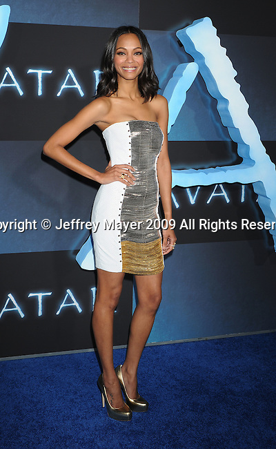 "HOLLYWOOD, CA. - December 16: Zoe Saldana attends the Los Angeles premiere of ""Avatar"" at Grauman's Chinese Theatre on December 16, 2009 in Hollywood, California."