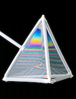 PLATEAU'S BUBBLES (Soap Film Interference)<br /> Tetrahedron<br /> Each surface occupies the smallest possible area and connects by the shortest distance possible (&quot;Minimum Surface&quot;). 3 planes of soap meet along any line at an angle of 120&ordm; from each other and 4 lines intersect at any point at an angle of 109&ordm; 28' each.