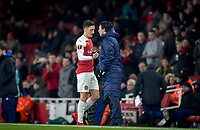Mesut Ozil of Arsenal is substituted by Arsenal Manager Unai Emery during the UEFA Europa League match between Arsenal and Qarabag FK at the Emirates Stadium, London, England on 13 December 2018. Photo by Andy Rowland.