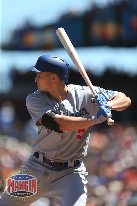 SAN FRANCISCO, CA - MAY 17:  Corey Seager #5 of the Los Angeles Dodgers bats against the San Francisco Giants during the game at AT&T Park on Wednesday, May 17, 2017 in San Francisco, California. (Photo by Brad Mangin)