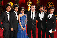 Actors Dev Patel, Irrfan Khan and Freida Pinto, director Danny B arrives at the 81st Annual Academy Awards held at the Kodak Theatre in Hollywood, Los Angeles, California on 22 February 2009