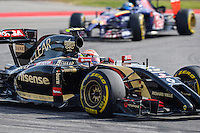 Pastor Maldonado of Lotus F1 Team driving (13) E22 during 2014 Formula 1 United States Grand Prix race, Sunday, November 02, 2014 in Austin, Tex. (Mo Khursheed/TFV Media via AP Images)