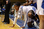 07 January 2016: Duke's Lynee Belton cheers on her friends. The Duke University Blue Devils hosted the Wake Forest University Demon Deacons at Cameron Indoor Stadium in Durham, North Carolina in a 2015-16 NCAA Division I Women's Basketball game. Duke won the game 95-68.