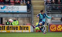 Joe Jacobson of Wycombe Wanderers hits a free kick at goal during the Sky Bet League 2 match between Leyton Orient and Wycombe Wanderers at the Matchroom Stadium, London, England on 1 April 2017. Photo by Andy Rowland.