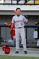 Greeneville Reds outfielder Brian Rey (6) on deck before a game against the Burlington Royals at the Burlington Athletic Complex on July 7, 2018 in Burlington, North Carolina. Burlington defeated Greeneville 2-1. (Robert Gurganus/Four Seam Images)
