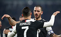 Calcio, Coppa Italia round 8 : Juventus - AS Roma, Turin, Allianz Stadium, January 22, 2020.<br /> Juventus' Cristiano Ronaldo (l) celebrates after scoring with his teammate Leonardo Bonucci (r) during the Italian Cup football match between Juventus and Roma at the Allianz stadium in Turin, January 22, 2020.<br /> UPDATE IMAGES PRESS/Isabella Bonotto